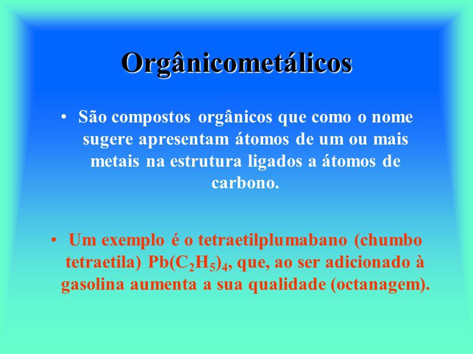 Orgânicometálicos São compostos orgânicos que como o nome sugere apresentam átomos de um ou mais metais na estrutura ligados a átomos de carbono.