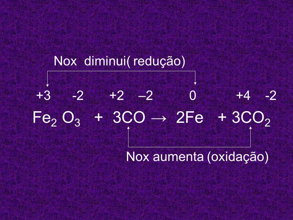 Nox diminui( redução) +3 -2 +2 –2 0 +4 -2. Fe2 O3 + 3CO → 2Fe + 3CO2.