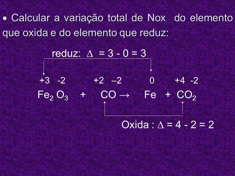  Calcular a variação total de Nox do elemento que oxida e do elemento que reduz: