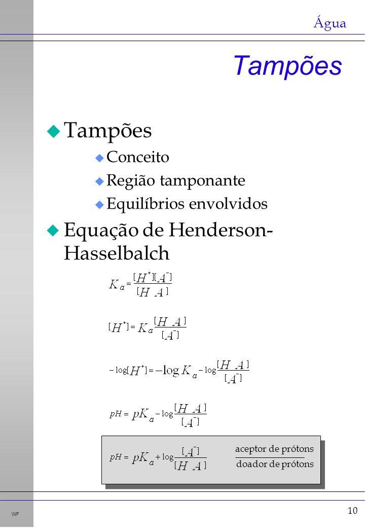 Tampões Tampões Equação de Henderson-Hasselbalch Conceito