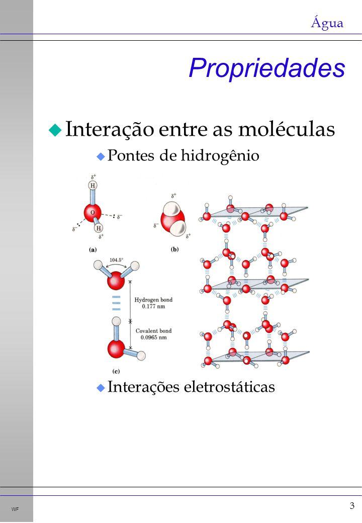 Propriedades Interação entre as moléculas Pontes de hidrogênio