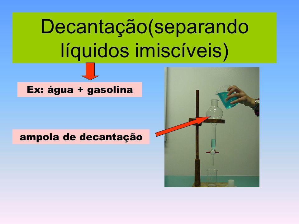 Decantação(separando líquidos imiscíveis)