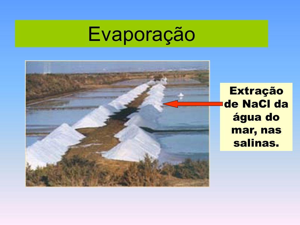 Extração de NaCl da água do mar, nas salinas.