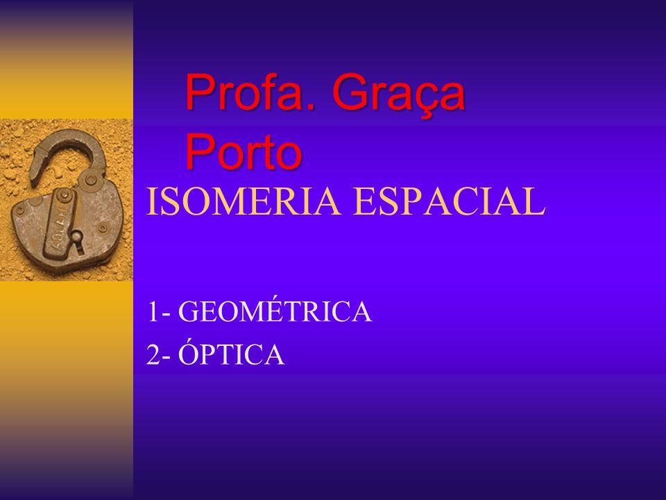 Profa. Graça Porto ISOMERIA ESPACIAL 1- GEOMÉTRICA 2- ÓPTICA