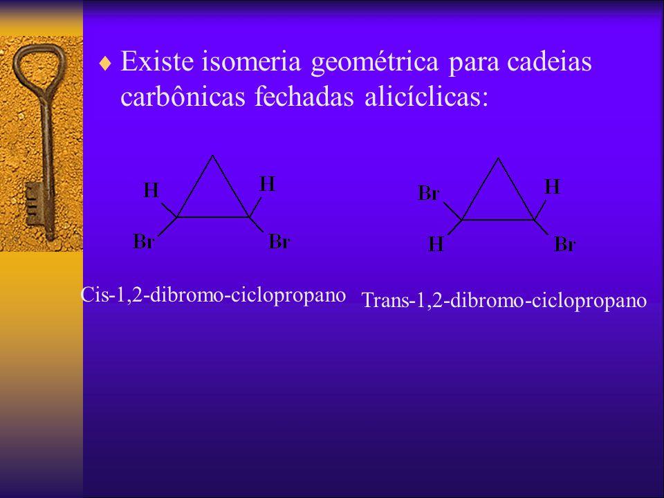 Existe isomeria geométrica para cadeias carbônicas fechadas alicíclicas: