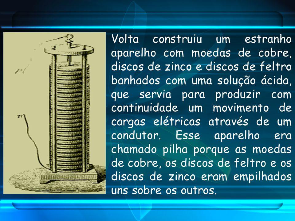 Volta construiu um estranho aparelho com moedas de cobre, discos de zinco e discos de feltro banhados com uma solução ácida, que servia para produzir com continuidade um movimento de cargas elétricas através de um condutor.