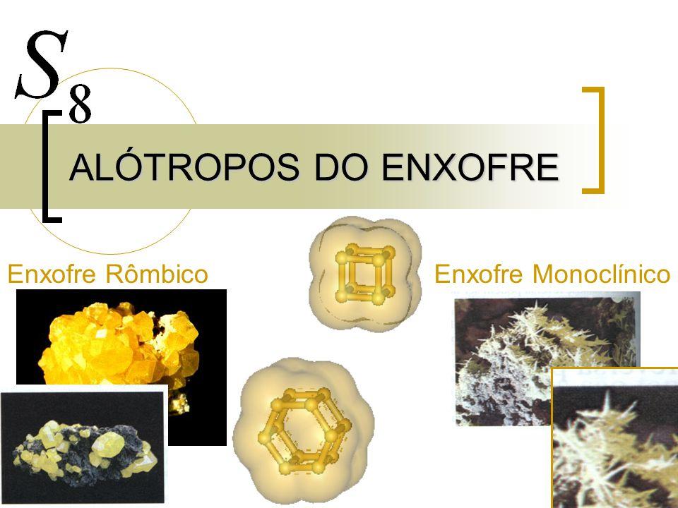 ALÓTROPOS DO ENXOFRE Enxofre Rômbico Enxofre Monoclínico
