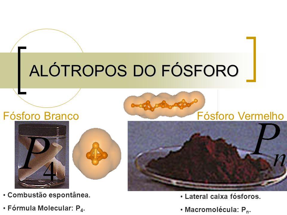 ALÓTROPOS DO FÓSFORO Fósforo Branco Fósforo Vermelho
