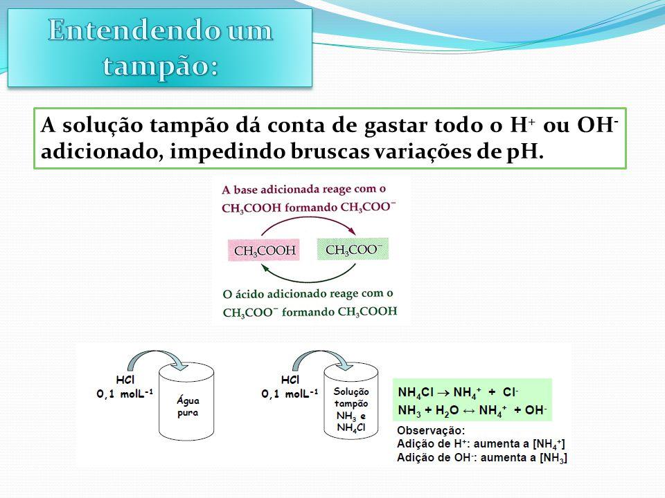 Entendendo um tampão: A solução tampão dá conta de gastar todo o H+ ou OH- adicionado, impedindo bruscas variações de pH.