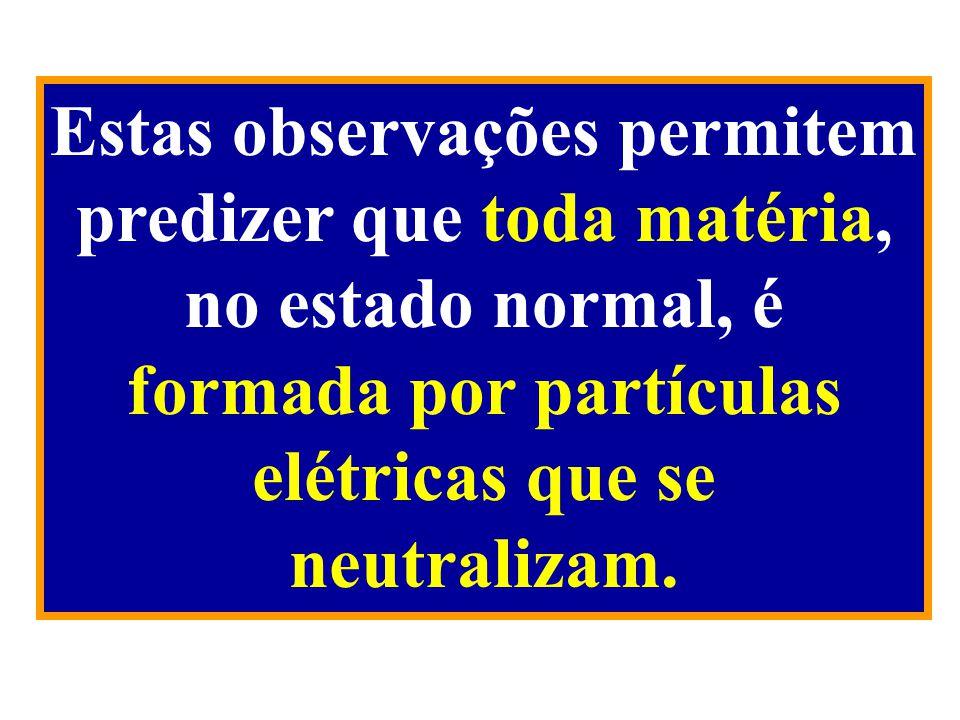 Estas observações permitem predizer que toda matéria, no estado normal, é formada por partículas elétricas que se neutralizam.