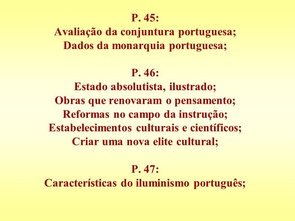 P. 45: Avaliação da conjuntura portuguesa; Dados da monarquia portuguesa; P.
