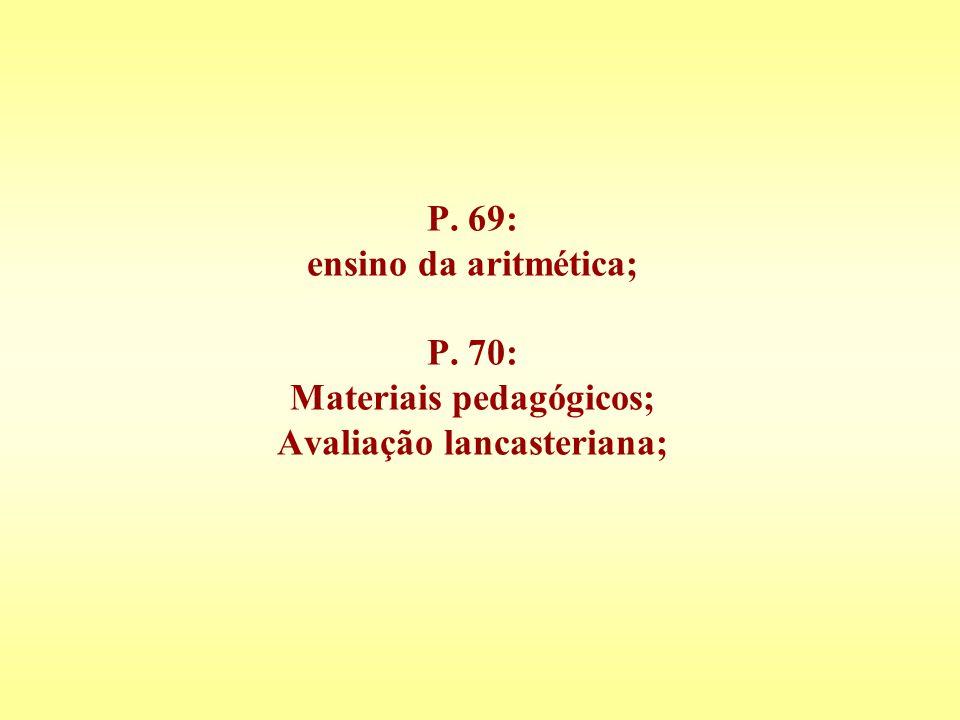 P. 69: ensino da aritmética; P