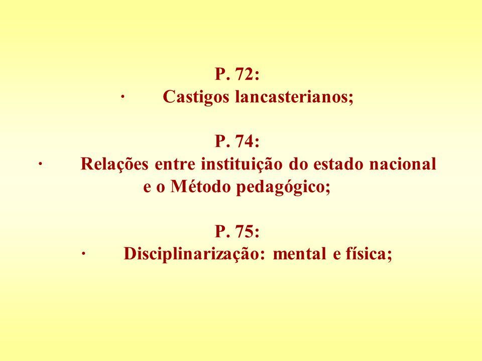 P. 72: · Castigos lancasterianos; P