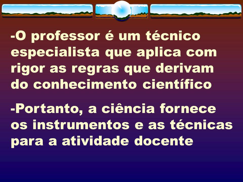 -O professor é um técnico especialista que aplica com rigor as regras que derivam do conhecimento científico