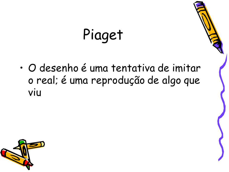 Piaget O desenho é uma tentativa de imitar o real; é uma reprodução de algo que viu