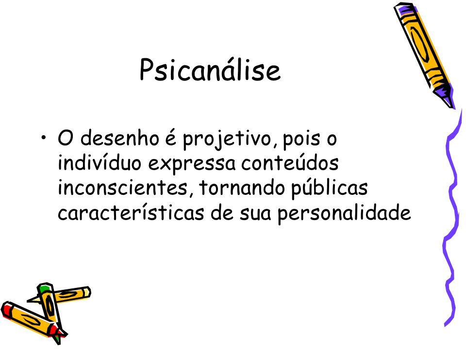 Psicanálise O desenho é projetivo, pois o indivíduo expressa conteúdos inconscientes, tornando públicas características de sua personalidade.