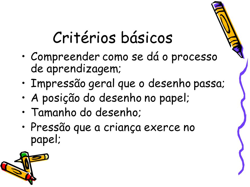 Critérios básicos Compreender como se dá o processo de aprendizagem;