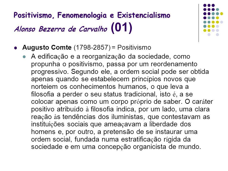 Positivismo, Fenomenologia e Existencialismo Alonso Bezerra de Carvalho (01)