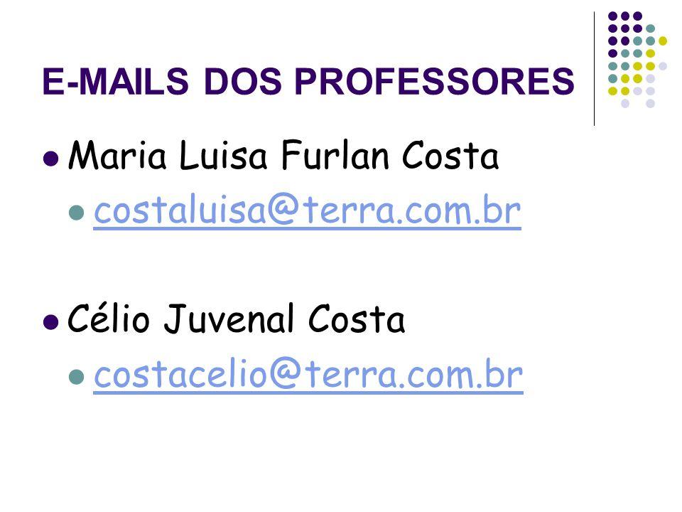 E-MAILS DOS PROFESSORES