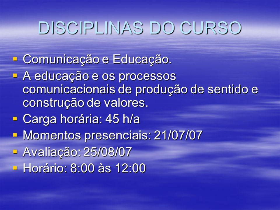 DISCIPLINAS DO CURSO Comunicação e Educação.