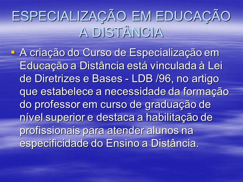 ESPECIALIZAÇÃO EM EDUCAÇÃO A DISTÂNCIA