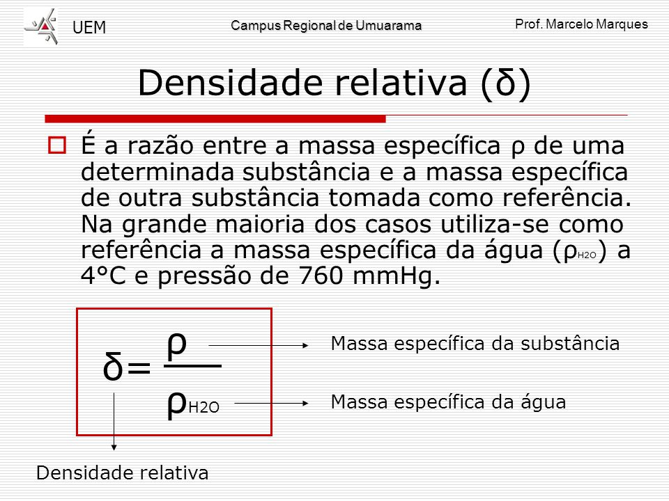 Densidade relativa (δ)