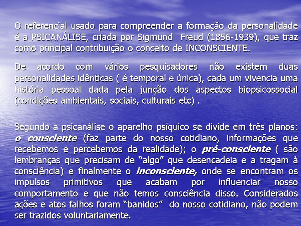 O referencial usado para compreender a formação da personalidade é a PSICANÁLISE, criada por Sigmund Freud (1856-1939), que traz como principal contribuição o conceito de INCONSCIENTE.