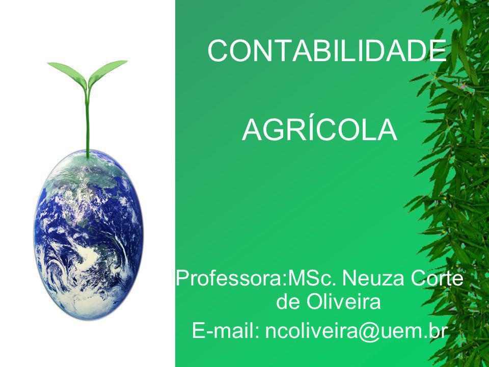AGRÍCOLA CONTABILIDADE Professora:MSc. Neuza Corte de Oliveira