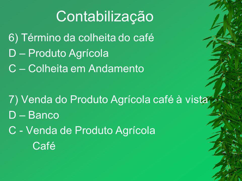 Contabilização 6) Término da colheita do café D – Produto Agrícola