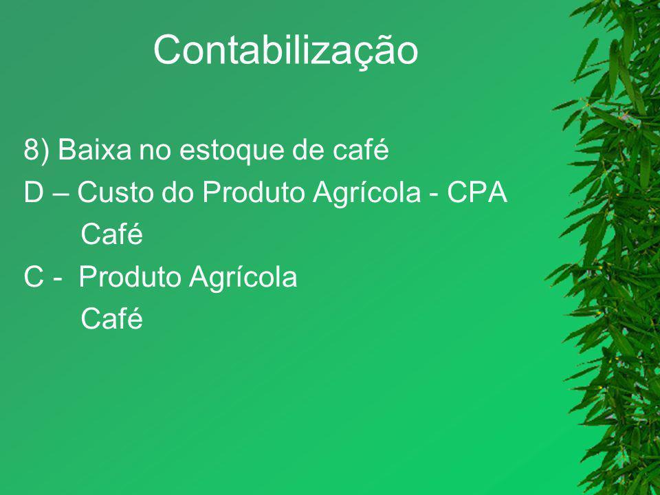 Contabilização 8) Baixa no estoque de café