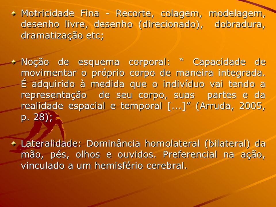 Motricidade Fina - Recorte, colagem, modelagem, desenho livre, desenho (direcionado), dobradura, dramatização etc;