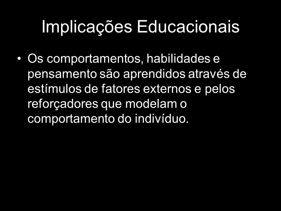 Implicações Educacionais