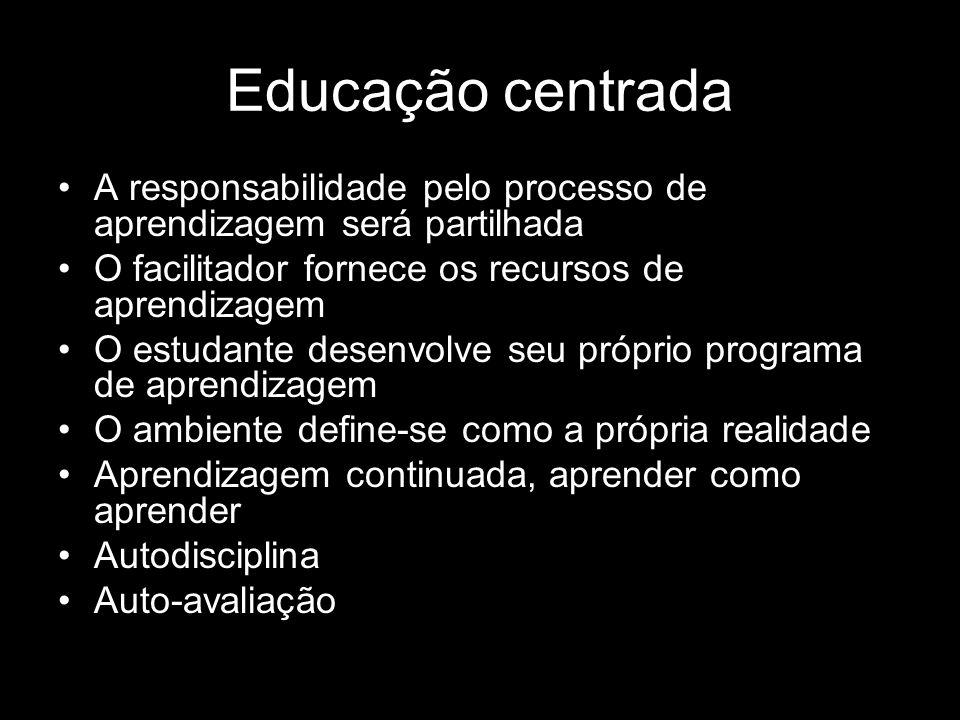 Educação centrada A responsabilidade pelo processo de aprendizagem será partilhada. O facilitador fornece os recursos de aprendizagem.