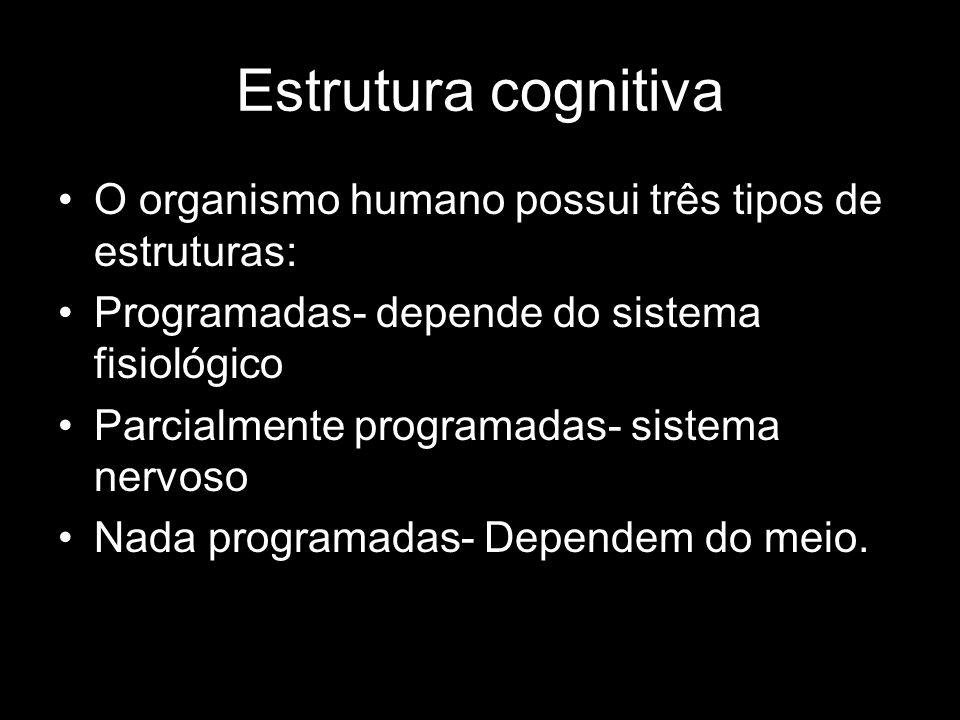 Estrutura cognitiva O organismo humano possui três tipos de estruturas: Programadas- depende do sistema fisiológico.