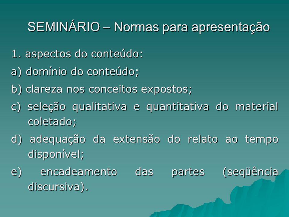 SEMINÁRIO – Normas para apresentação