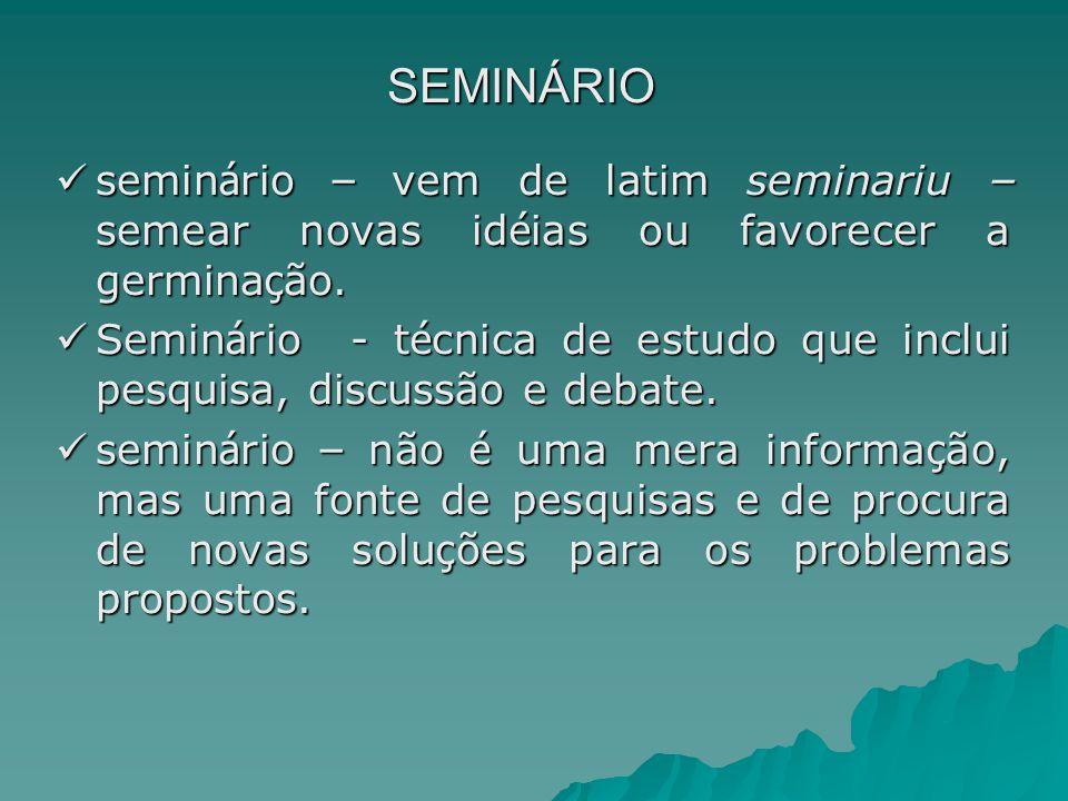 SEMINÁRIO seminário – vem de latim seminariu – semear novas idéias ou favorecer a germinação.