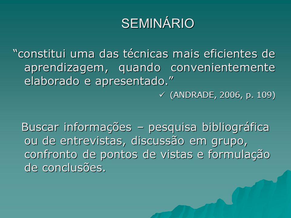 SEMINÁRIO constitui uma das técnicas mais eficientes de aprendizagem, quando convenientemente elaborado e apresentado.
