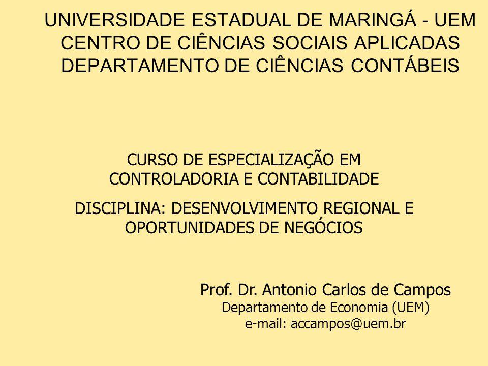 UNIVERSIDADE ESTADUAL DE MARINGÁ - UEM CENTRO DE CIÊNCIAS SOCIAIS APLICADAS DEPARTAMENTO DE CIÊNCIAS CONTÁBEIS