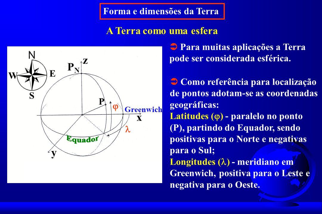 z PN x y A Terra como uma esfera Forma e dimensões da Terra