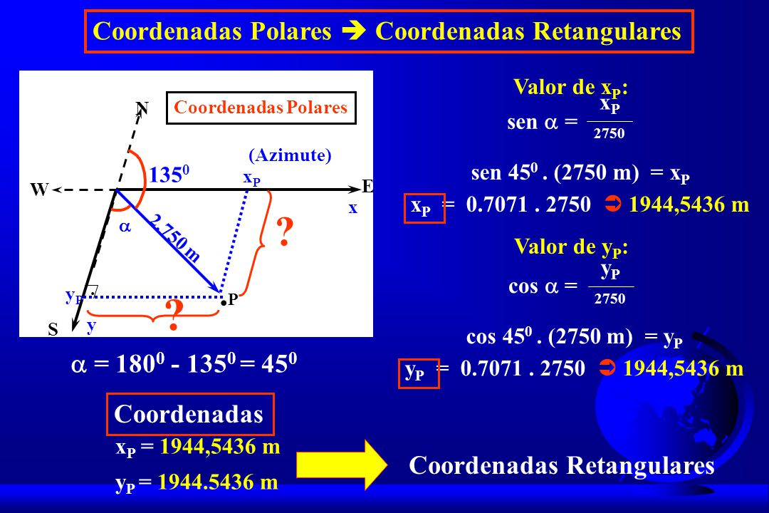 .P Coordenadas Polares  Coordenadas Retangulares