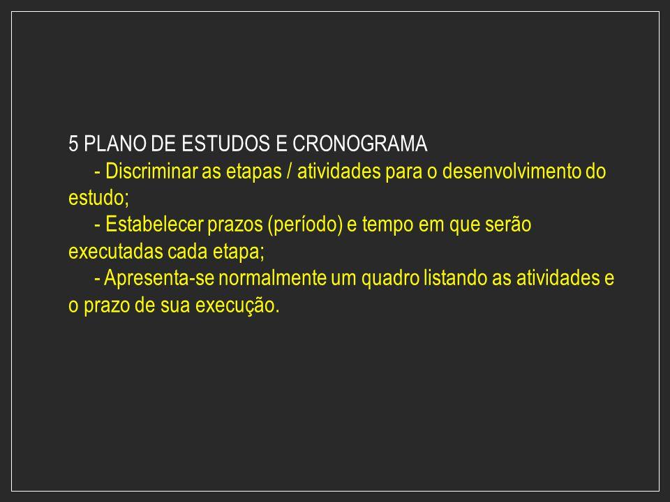 5 PLANO DE ESTUDOS E CRONOGRAMA