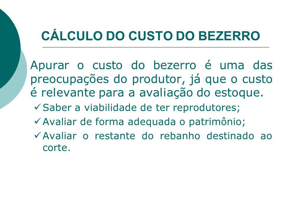 CÁLCULO DO CUSTO DO BEZERRO