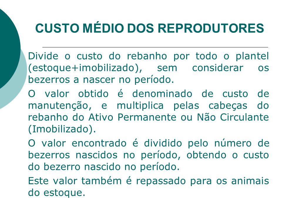 CUSTO MÉDIO DOS REPRODUTORES