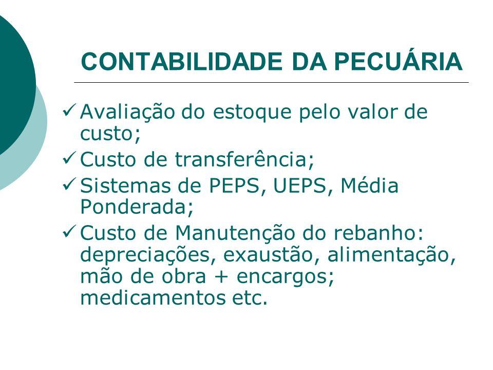 CONTABILIDADE DA PECUÁRIA