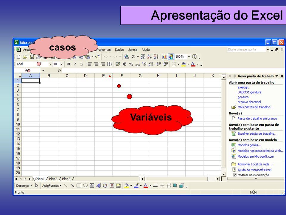 Apresentação do Excel casos Variáveis