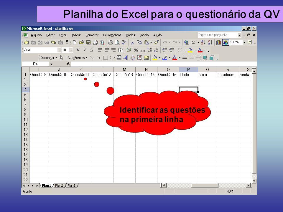 Planilha do Excel para o questionário da QV