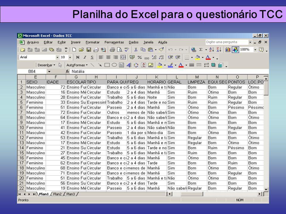 Planilha do Excel para o questionário TCC