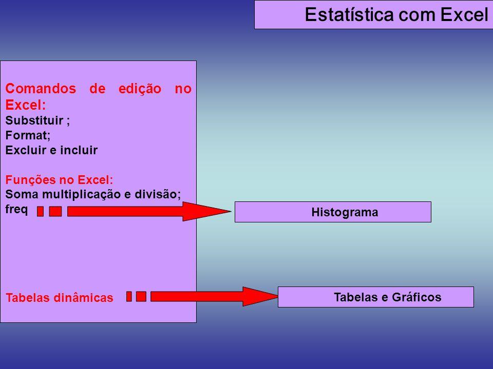 Estatística com Excel Comandos de edição no Excel: Substituir ;