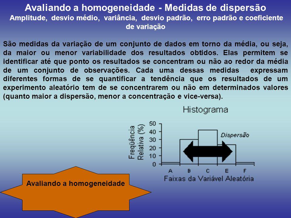 Avaliando a homogeneidade