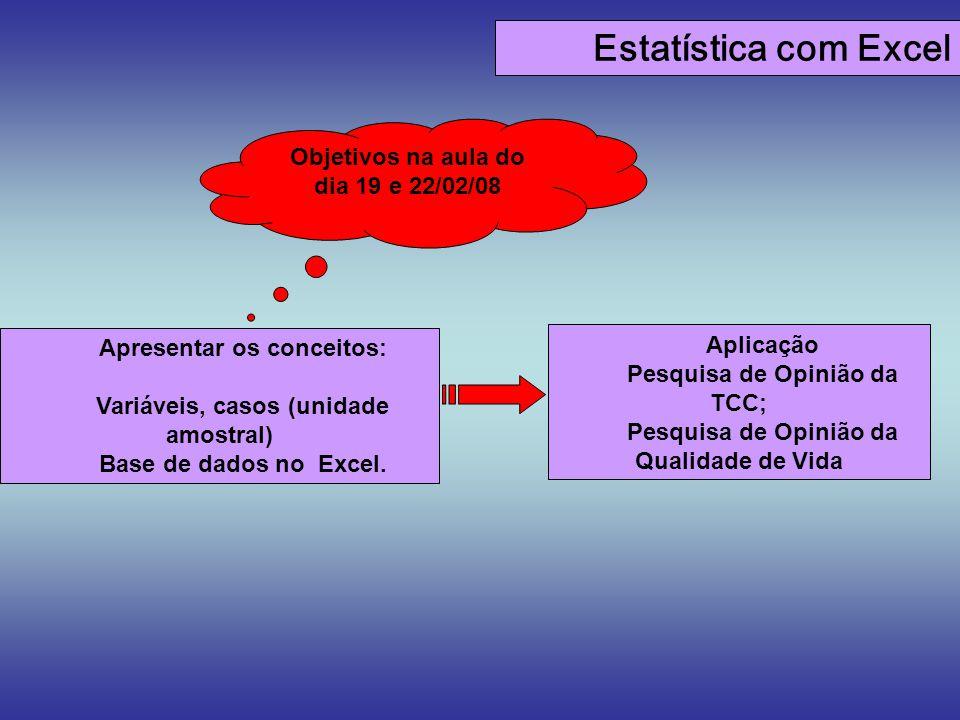 Estatística com Excel Objetivos na aula do dia 19 e 22/02/08 Aplicação